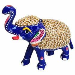 Metal Elephant With Stone Work