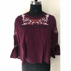 Ladies Mehroon Embroidery Top