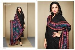Collar Neck Black Alina Salwar Suit Fabric