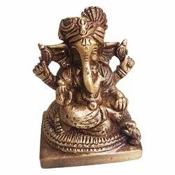 Brass Pagdi Ganesha Statue