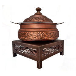 Smokey Finished Embosed Handi with Perforated Chowki
