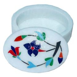 Marble Round Pill Box