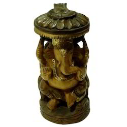 Wooden Ganesha Chatari With Black Finishing Work Statues