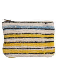 Striped Printed Yellow Cotton Pouch