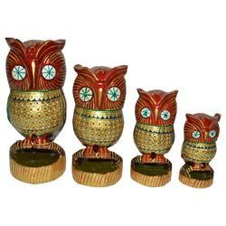 Wooden Painted Tahani Owl Set