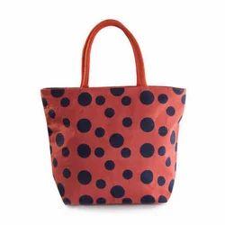 Juteberry Orange Polka Dot Jute Bag