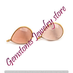 925 Sterling Silver Pink Chalcedony Earstuds