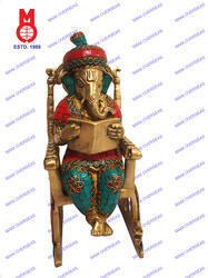 Lord Ganesh Reading Book On Chair W/ Stone Work Statue