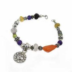 Rose Quartz Gemstone Sterling Silver Bracelet