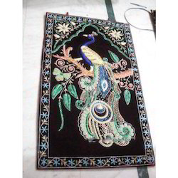 Zari Embroidery Wall Panel Handcrafted Jewel Stone Wall