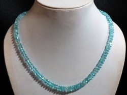 Blue Topaz Faceted Rondelle Stone Bead Necklace