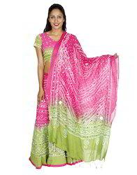 Cotton Tie Dye Ethnic Wear Wedding Lehenga & Gharga Choli