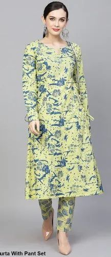 6536153c5 AKS new articles - Yellow   Blue Printed A-Line Kurta With Pant Set ...