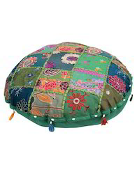 Patchwork And Embroidered Green Round Ottoman Cotton Pouf