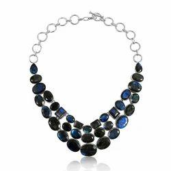 Large Fashion 925 Sterling Silver Labradorite Necklace