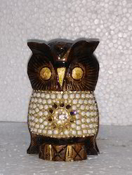 Wooden Owl With Pearl Work