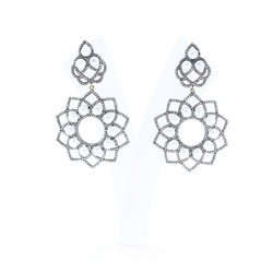 Pearl Diamond Floral Earrings