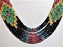 7-strand Sapphire, Ruby, Emerald Multi Color Gemstone Necklace