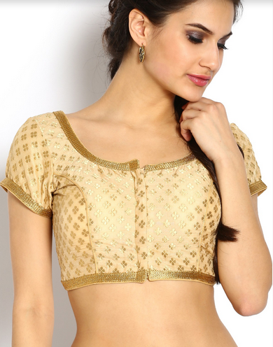 71c471105b5cb Aaina Blouses - Beige And Gold Dupion Blouse Retailer from Bengaluru
