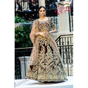 Red Velvet Designer Semi-stitched Bridal Lehenga