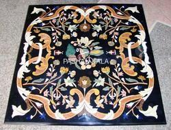 Square Shape Black Marble Inlay Table Top