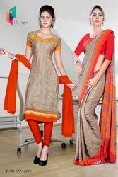 Orange and Light Brown Italian Crepe Uniform Saree Kurti Combo