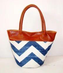 Leather With Handmade Rug Tote Bag