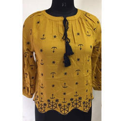 Ladies Yellow Printed Top