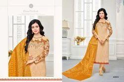 Cream & Mustard Georgette Embroidered Salwar Suit With Banarasi Dupatta