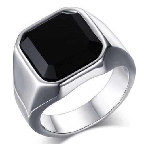 Silver Finger Rings Black Onyx Ring For Men Exporter