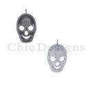 Diamond Silver Skull Charm