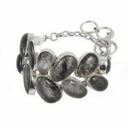 Black Rutile Gemstone Silver Bracelet