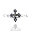 Diamond Roman Cross Mid Ring