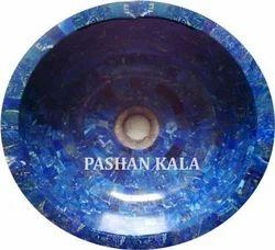 Semi Precious And Gemstone Wash Basin Blue Lapis Lazuli