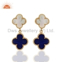 Gold Plated Gemstone Clover Earrings