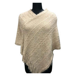 5f84047a6c Off White Free Size Ladies Knitted Woolen Poncho