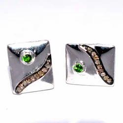 Natural Green Garnet Cufflinks