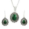 925 Sterling Silver Malachite Pendant Set