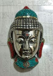 Metal Buddha Head With Stone Work
