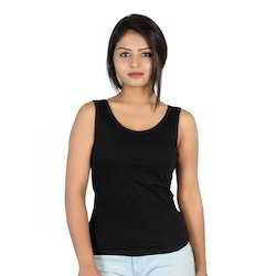 Letizia Black Round Neck Tank Top