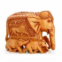 Wooden Family Elephant