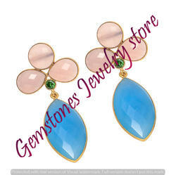 Chalcedony Gold Plated New Fashion Earring