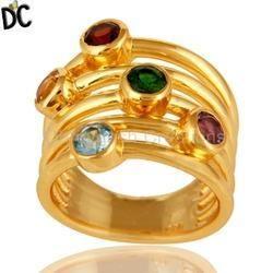 Gold Plated Gemstone Wedding Band Ring