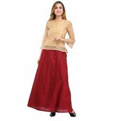 Cottinfab Solid Maroon Ethnic Long Skirts