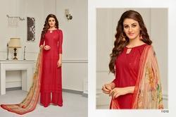 3/4 Sleeve Red Aabida Salwar Suit Fabric