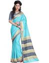 Teal Blue Silk Uniform Saree