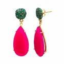 Green Onyx &  Smoky Topaz Earring