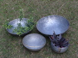 Galvanised Indoor- Outdoor Set Of 4 Planter Bowls