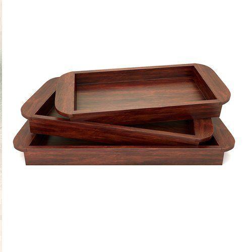 Solid Wood Serving Tray Set Of 3 U Shape Handles   Mahogany