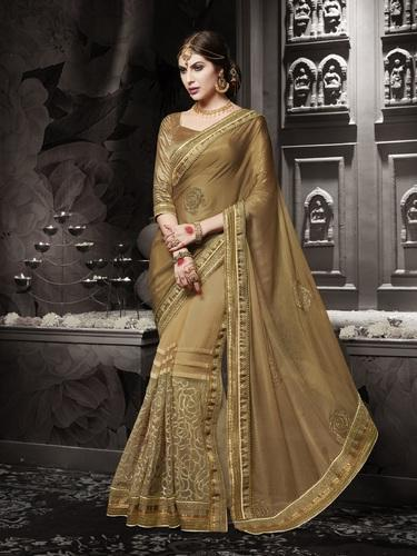 Gold Heavy Wedding Wear Saree